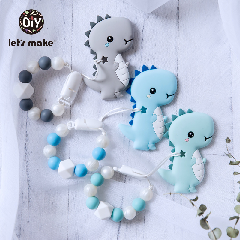 Baby Pacifier Cartoon Dinosaur Teether Pacifier Clip Chains BPA Free Silicone Holder For Dummy Nursing Nipples Clips Let's Make