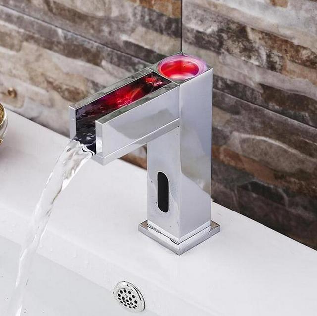 Led Touchless Sensor Basin Faucet Auto Bathroom Faucet Mixer Basin Bathroom  Sensor Faucet Sink Faucet Tap