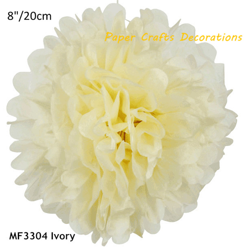 8inch=20cm 10pcs/lot Ivory DIY Round Tissue Paper Pom Poms Flowers Balls Hanging Wedding Birthday Party Decorations