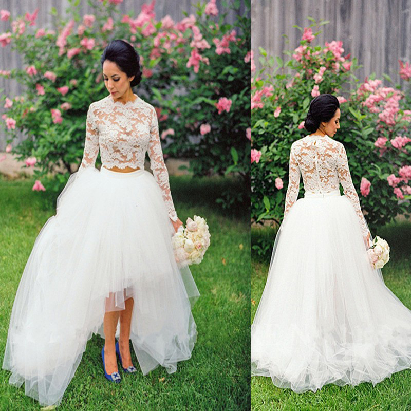 Different Design Wedding Gowns Full Sleeve Zipper Scalloped Court ...