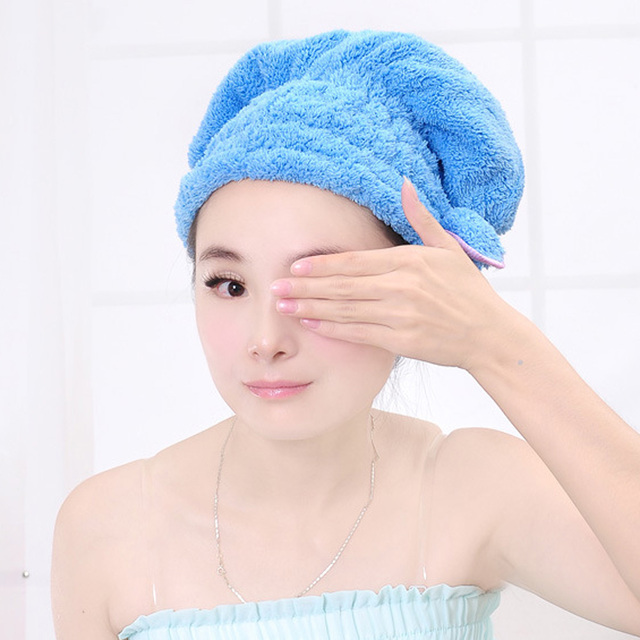 Colorful Shower Cap Wrapped Towels Microfiber Bathroom Hats Solid Superfine Quickly Dry Hair Hat Bath Accessories