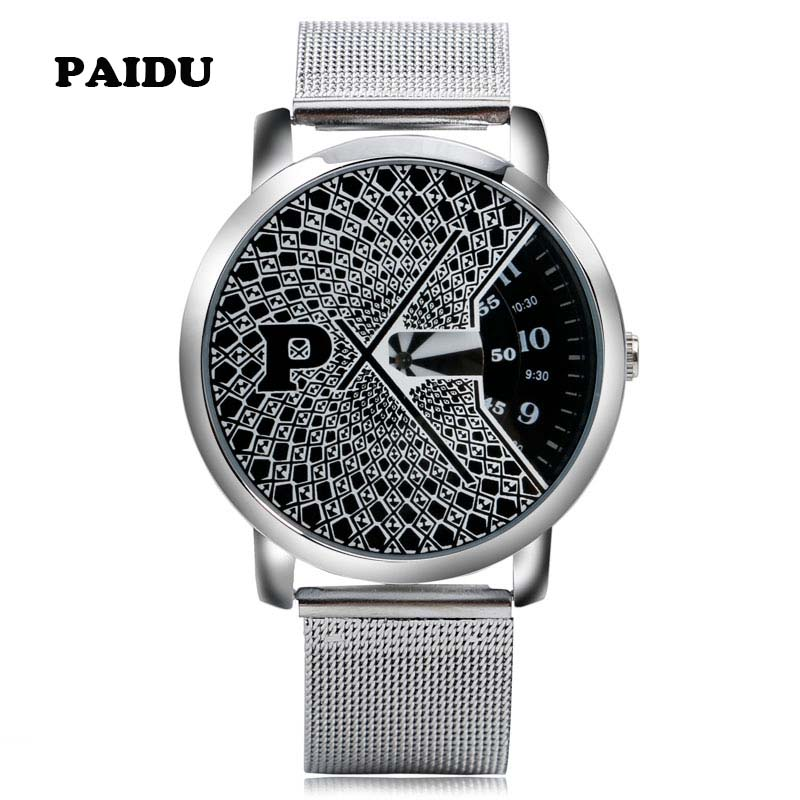 Hot PAIDU Casual Silver Stainless Steel Mesh Quartz Wrist Watch Fashion Black/White Round Turntable Dial Mens Womens Modern Gift paidu splice color dial quartz mesh stainless steel strap wrist watch simple stylish men women casual round dial modern
