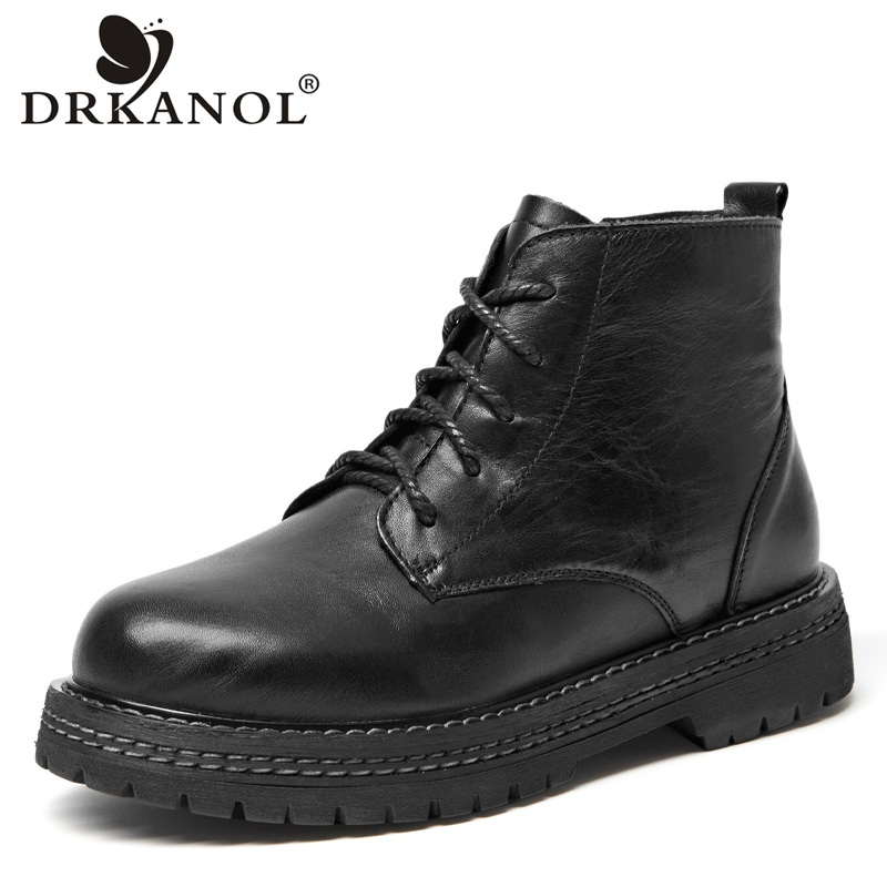 Chaussures Rond Noir Femmes forme Cuir Cheville Talon Martin Automne Drkanol Mode En Épais Bottes Plate Véritable Bout Main OikXZPuT