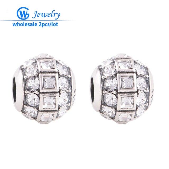 2pcs/lot Austrian Crystal Crystal  925 Sterling Silver Disco Ball Charm fit European Bracelets GW fine jewelry X246H15