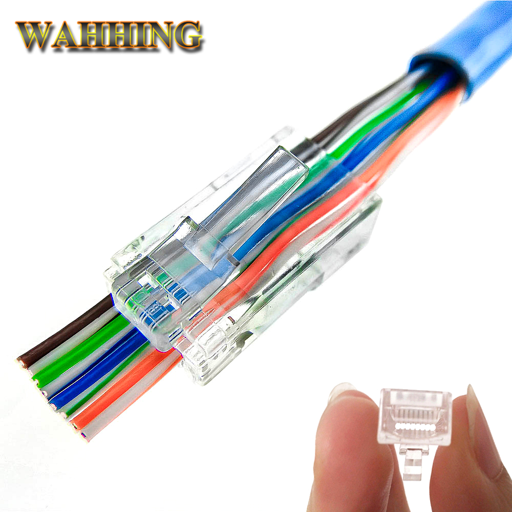 50  100pcs Ez Rj45 Connector Cat5e Cat6 Connector Network