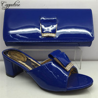 Capputine New Simple African Middle Heels Party Shoes And Bag Set Summer Woman Slipper Shoes And Bag Set On Stock BL975C