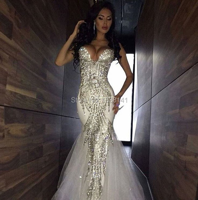 Robe De Mariee Sexy New 2017 Bling Beads Crystal Mermaid Wedding Dresses Tulle Long Bridal Gowns