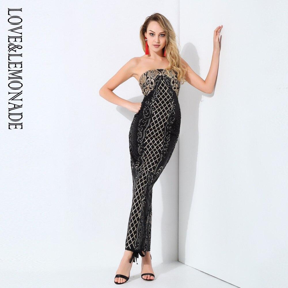Love Lemonade Black Strapless Geometric Sequins Cut Out Long Dresses LM0785