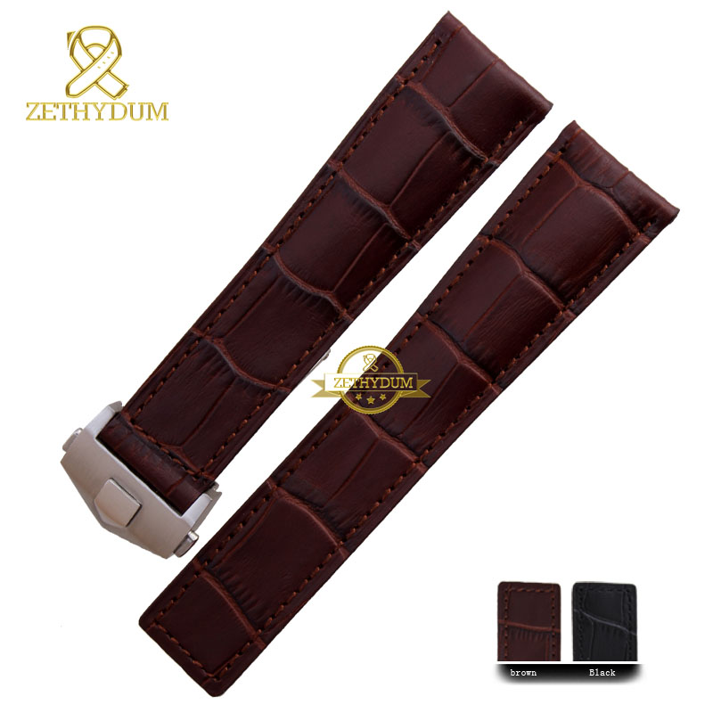 Genuine leather bracelet  watchband watch strap mens wristwatches band  20mm 22mm accessories watch belt  fold buckle high quality genuine leather watchband 22mm brown black wrist watch band strap wristwatches stitched belt folding clasp men