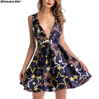 A Line Swing Floral Abstract Patten Print Summer Dress Women Deep V Neck Backless Bandage Sexy