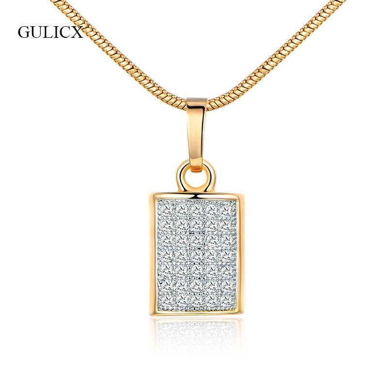 0b25e73e5547 GULICX marca de moda cuadrado de oro de color boda joyería cristal blanco  Zirconia collares colgantes para las mujeres Bijoux joyería P045