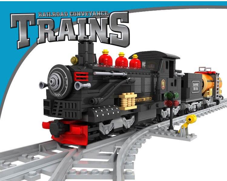 Modélisme kits compatible avec loge ville train à vapeur rails trafic 586 pièces 3D blocs modèle Éducatif bâtiment jouets loisirs