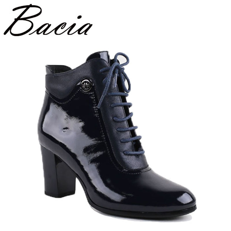 Bacia Ankle Boots High Quality Genuine Leather Shoes Black Handmade Boots With Short Plush Russian Size Autumn Boots 2016 VC012 2016 autumn