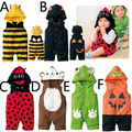 Autumn Hooded Baby Rompers Cotton Kawaii Sleeveless Baby Costume Halloween Pumpkin Bee Shape H00173