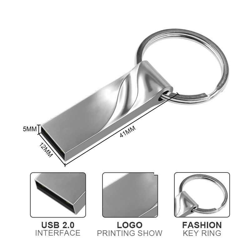 Водонепроницаемый металлический USB флеш-накопитель 32 ГБ 64 ГБ флеш-накопитель 128 ГБ 16 ГБ 8 ГБ Флешка 8 16 32 64 128 ГБ ключевой диск памяти Пользовательский логотип
