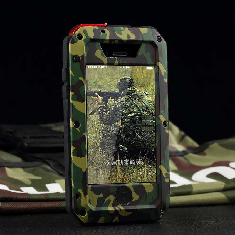bilder für Für iphone 5 s se 5c 6 6 s plus 360 stoßfest abdeckung leben Wasserdicht Camouflage Aluminium Metall Telefon-kästen mit Gorilla glas
