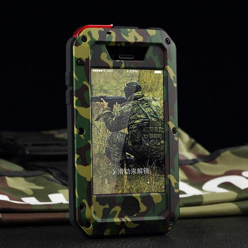 imágenes para Para iphone 5s se 5c 6 6 s plus 360 a prueba de golpes cubierta vida Camuflaje A Prueba de agua Cajas Del Teléfono Del Metal de Aluminio con Gorilla Glass vidrio
