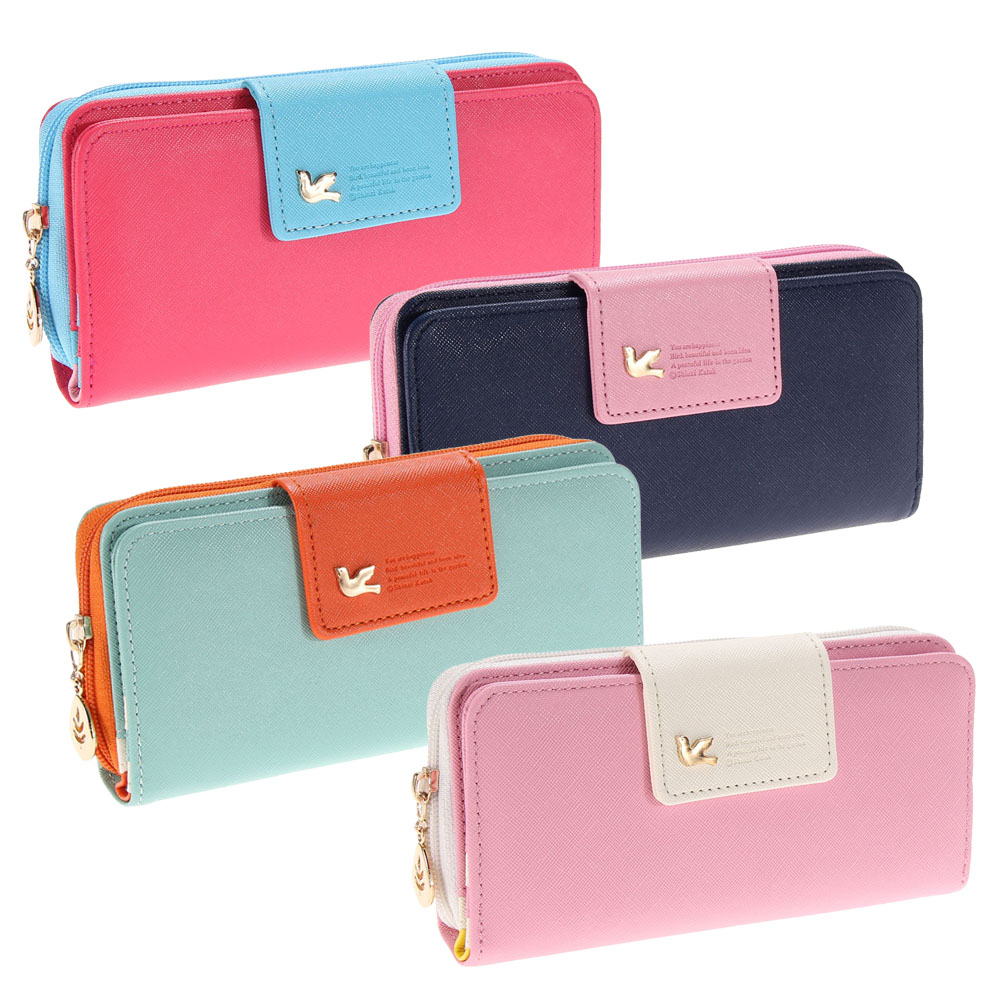 цены на Fashion Women Wallets Pumping Multi-card Position Two Fold Wallet Clutch Lady Long Zipper Purse Card Holder Bolsa Feminina
