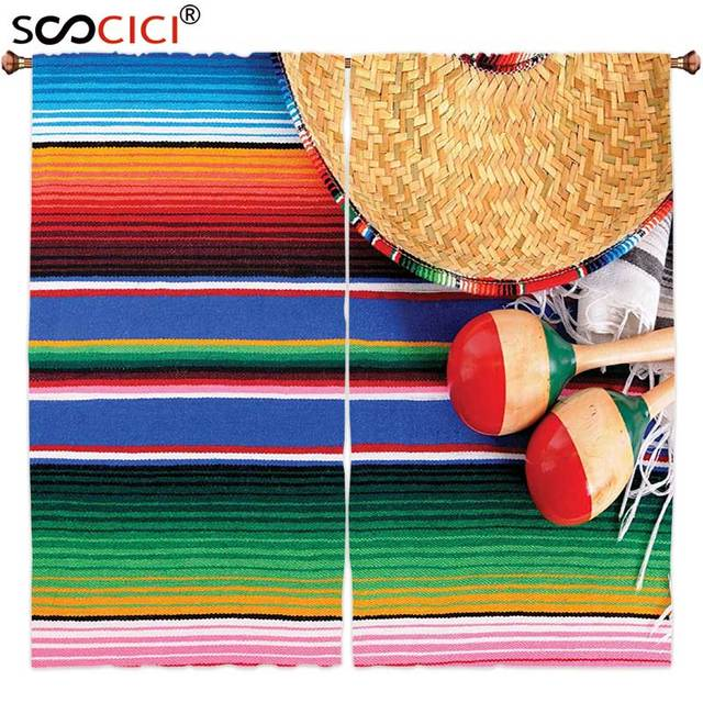 Window Curtains Treatments 2 PanelsMexican Decorations Collection Mexican Artwork With Sombrero Straw Hat Maracas