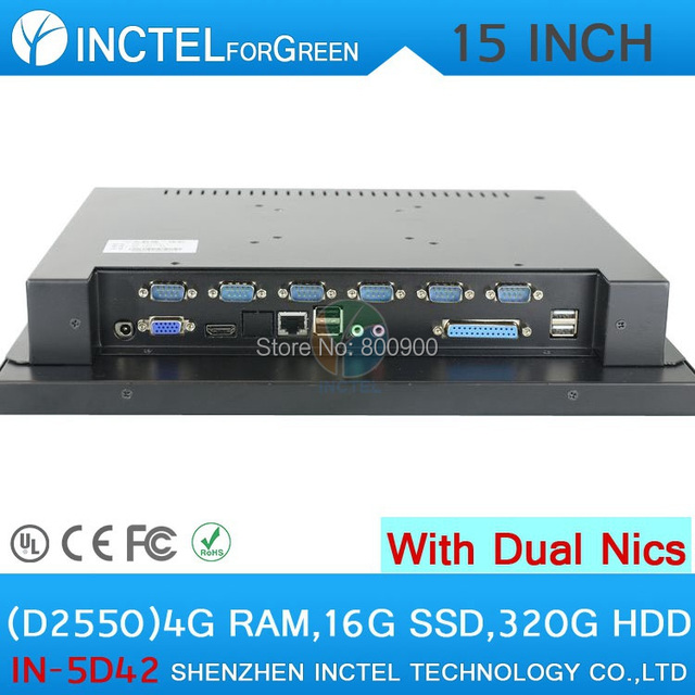 "Industrial 4-wire resistive all in one 15"" with 2*RJ45 6*COM HDMI VGA 4G RAM 16G SSD 320G HDD Intel D2550 1.86Ghz WinXP/7"