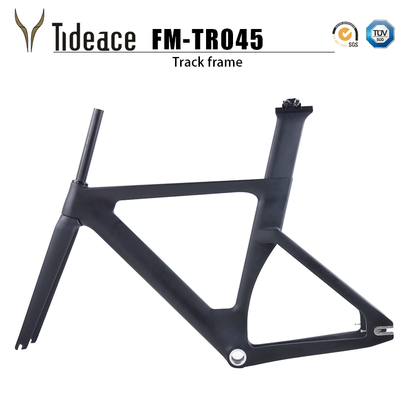2018 new full carbon track frame Carbon Track Bike Frameset with Fork seatpost road carbon frames fixed gear bike frameset 53cm 55cm 58cm fixed gear bike frame matte black bike frame fixie bicycle frame aluminum alloy frame with carbon fork