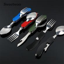 цена на 4 In 1 Outdoor Tableware (Fork/Spoon/Knife/Bottle Opener) Camping Stainless Steel Folding Pocket Kits For Hiking Survival Travel