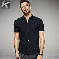 KUEGOU New Summer Mens Casual Chemises 100% Coton Noir Couleur marque de Vêtements Homme À Manches Courtes Vêtements Homme Slim Fit Tops 0805