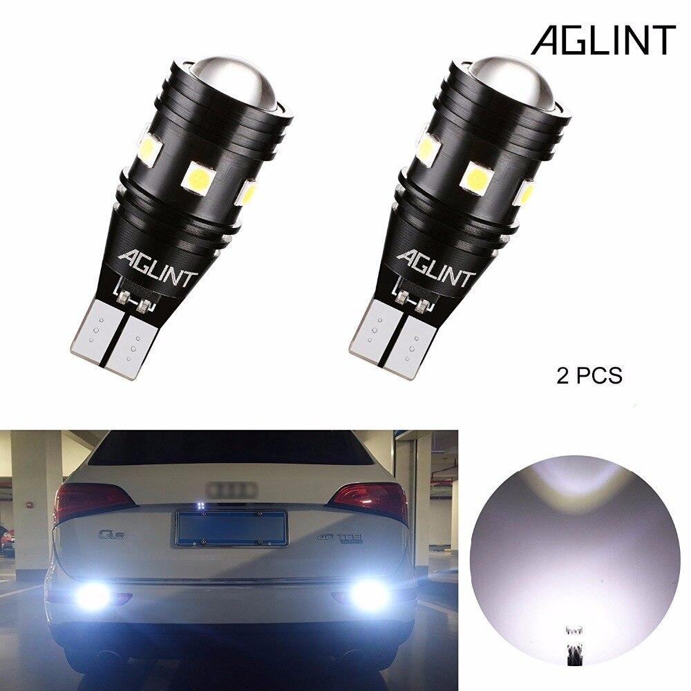 AGLINT 2 piezas T15 T16 W16W 912 921 CANBUS Error libre bombillas LED Back-up luz reversa Super brillante 3030SMD 9 Chips 12-24 V blanco