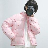 Winter Frauen Baumwolle Parkas Kurz Gepolsterte Jacke mit Ganzen Herz-druck Rosa Puffer Jacken Fashion Casual Regenbogen Gestreiften Mantel