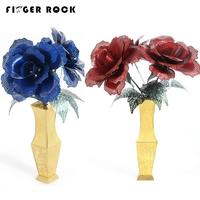 Blue Enchantress Simulation Flower Assembly Model 3D Metal Puzzle Never Fade Bule Rose Red Rose Stainless