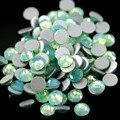 100 pcs Bonito Cristal Opala Verde Rodada Natator Cristal Prego Strass Tamanhos Diferentes SS3-12 RS-09