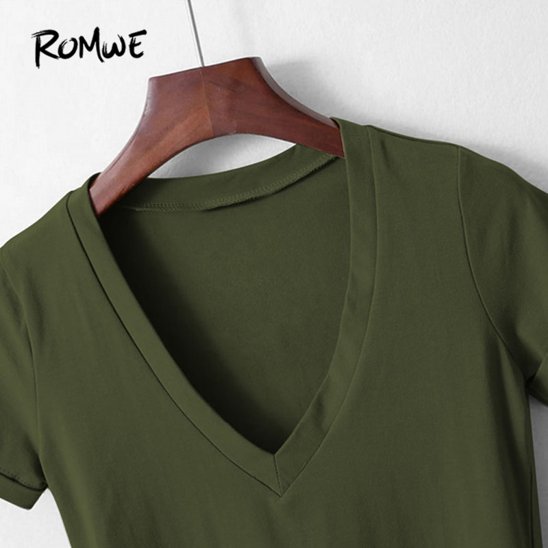 337fa2475d48 ROMWE Women V Neckline Rolled Cuff Bodysuit Summer 2019 Pure Green Skinny  Woman Tops Short Sleeve Bodysuit-in Bodysuits from Women's Clothing on ...