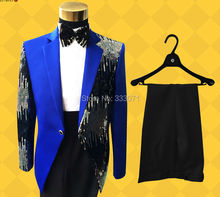 2016 High Quality Retro gentleman Men's Suits sequins Groom Tuxedos Performance clothing Wedding Party Prom Blazer Jacket+Pants