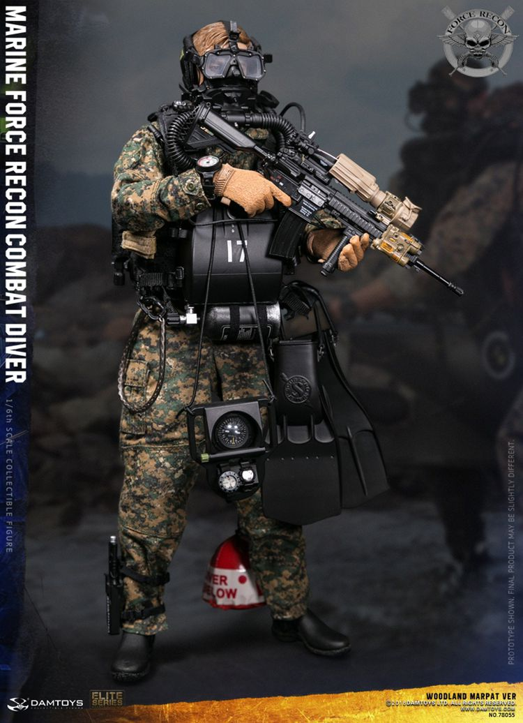For Collection 78055 1/6 Collectible USMC RECON COMBAT DIVER WOODLAND MARPAT Camouflage Version Model for Fans Gift 1