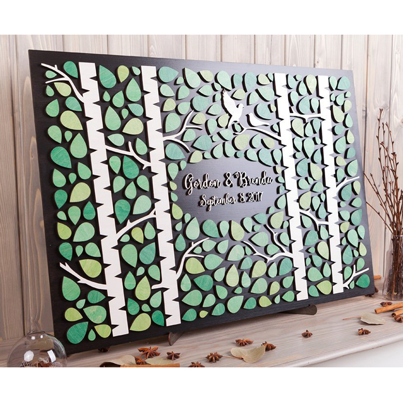 Wedding guest book alternativa personalizado Guestbook do Casamento Tema 3D Birch floresta Verde Rústico livro de convidados do casamento De casamento de Madeira sinal