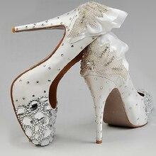 Free Shipping White High Heel Wedding Dress Shoes Diamond Crystal Princess Shoes Rhinestone Bridal Dress Shoes Woman Shoes