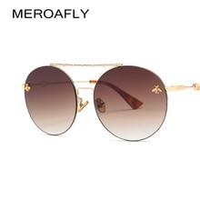 75f9393e43 MEROAFLY Round Sunglasses Women Retro Glasses UV400 Fashion Sunglasses Men Double  Nose Bridge Metal Acetate Frame
