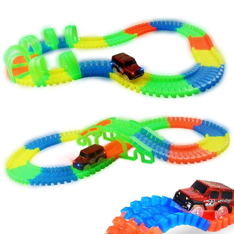 Jungen Puzzle Slot farbe Auto Rennstrecke Auto Hot Wheels Glowing beleuchtung DIY Slot Led Batterie Elektrische Modell Mini Triebwagen Spielzeug
