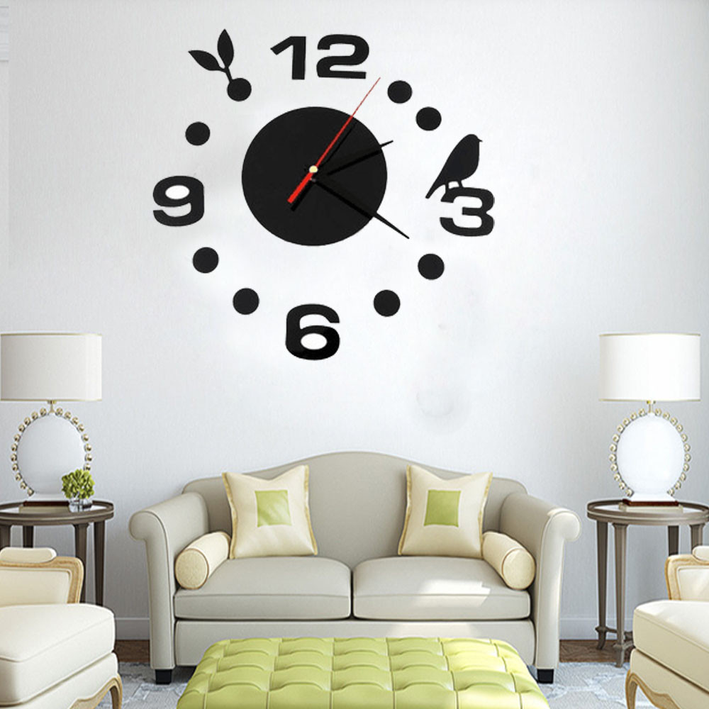 Diy Large Wall Clock Home Office Room Decor 3d Mirror