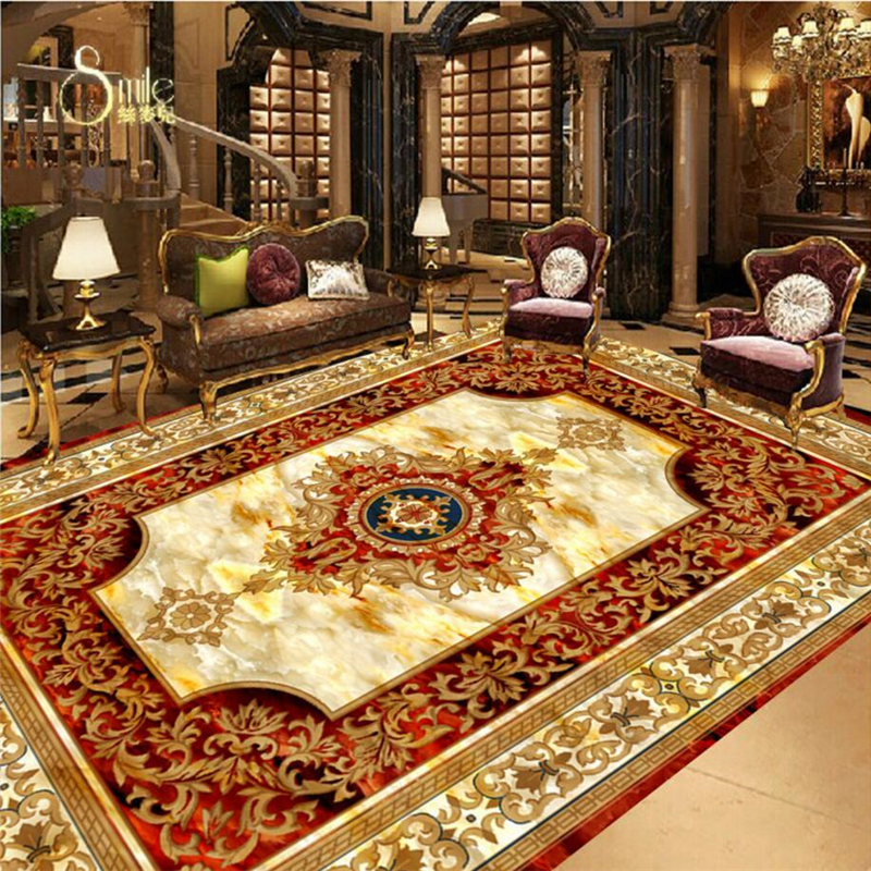 beibehang Custom Floor Sticker European carpet Hotel Bathroom 3D wall papers home decor Self-adhesive PVC Non-slip Wallpaper