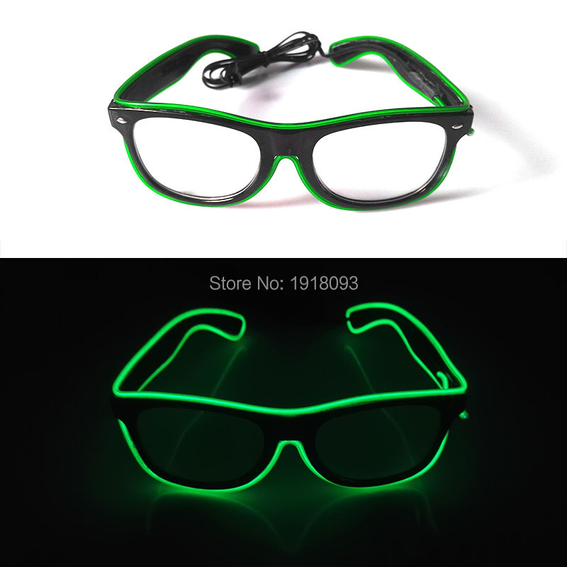 2017 Fashion Bright Color Green LED neon light EL Wire Glowing Sunglasses Neon Light up Rave Costume Party DJ Bright Supplies