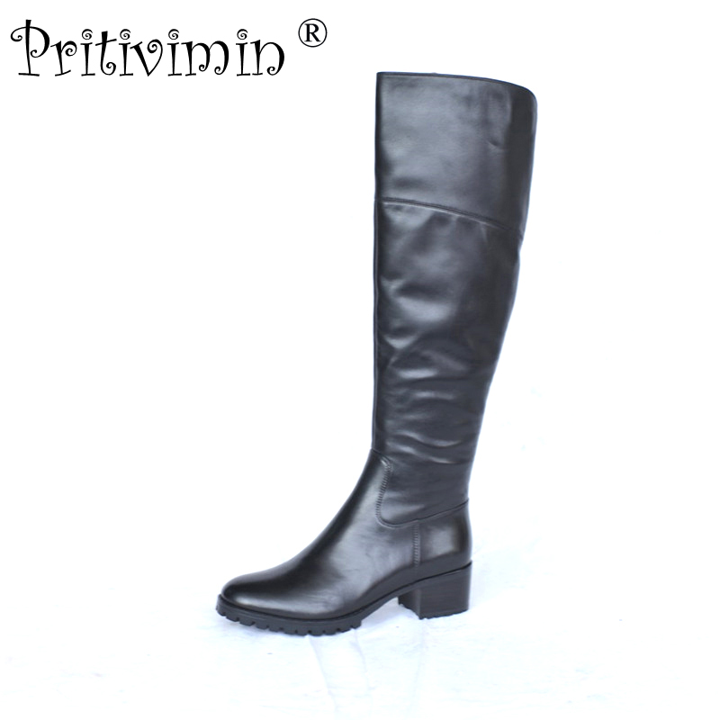 2018 Ladies genuine leather knee high boots winter woman warm lined handmade shoe female thick heel riding boots Pritivimin FN37