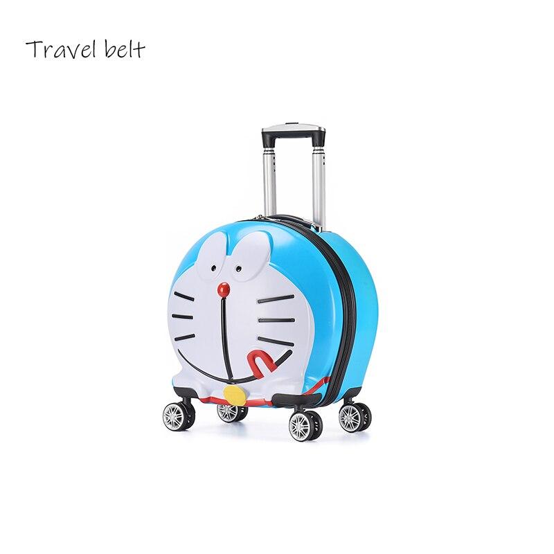 Ceinture de voyage dessin animé robot chat haute qualité roulant bagages 19 pouces enfants cabine voyage sac enfants valise roues