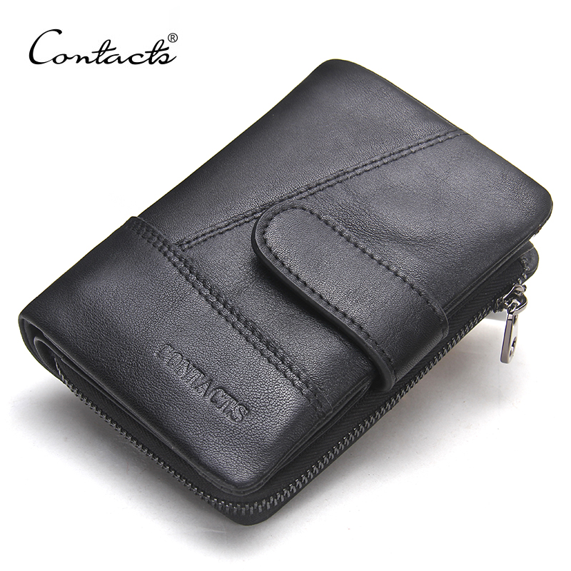 CONTACT'S Genuine Leather Retro Men Wallets Hasp Design Male Wallet High Quality Card Holder for Men's Black Purse Carteira