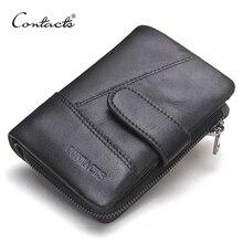 CONTACT'S Echtem Leder Retro Männer Brieftaschen Haspe Design Männlichen Brieftasche Hohe Qualität Kartenhalter für männer Schwarze Handtasche Carteira
