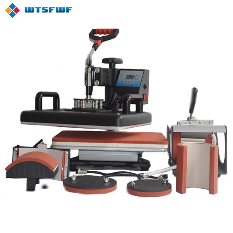Wtsfwf 30 * 38CM 6 in 1 Combo Heat Press Printer 2D Sublimation Transfer Printer for Cap Mug վերնաշապիկների համար ափսեներ