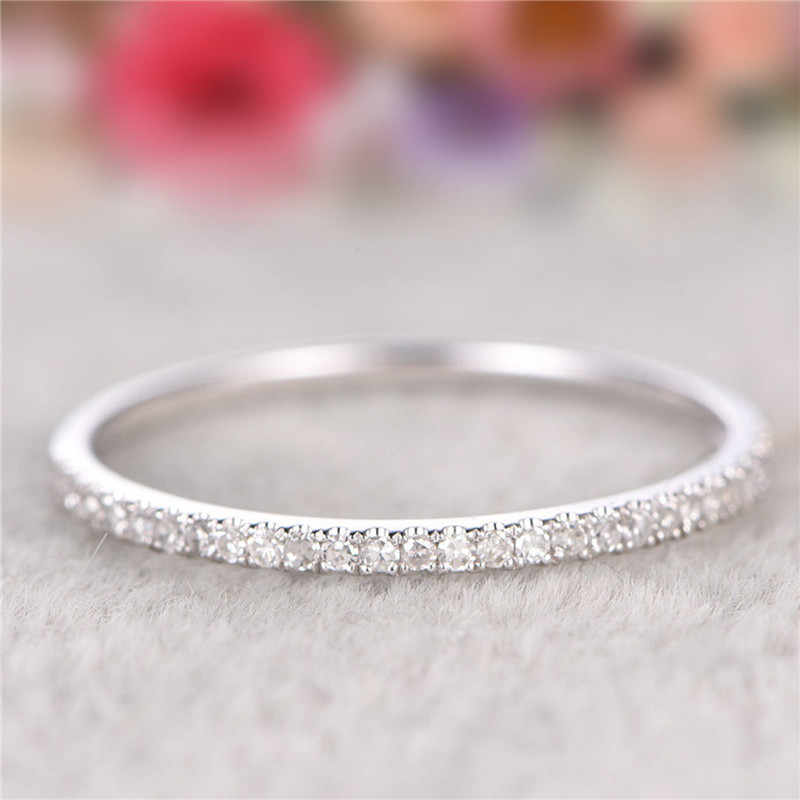 3 colori Eternity anello di Promessa 925 Sterling silver Cubic Zirconia Partito Wedding Band Anelli per le donne di Barretta Semplice Dei Monili