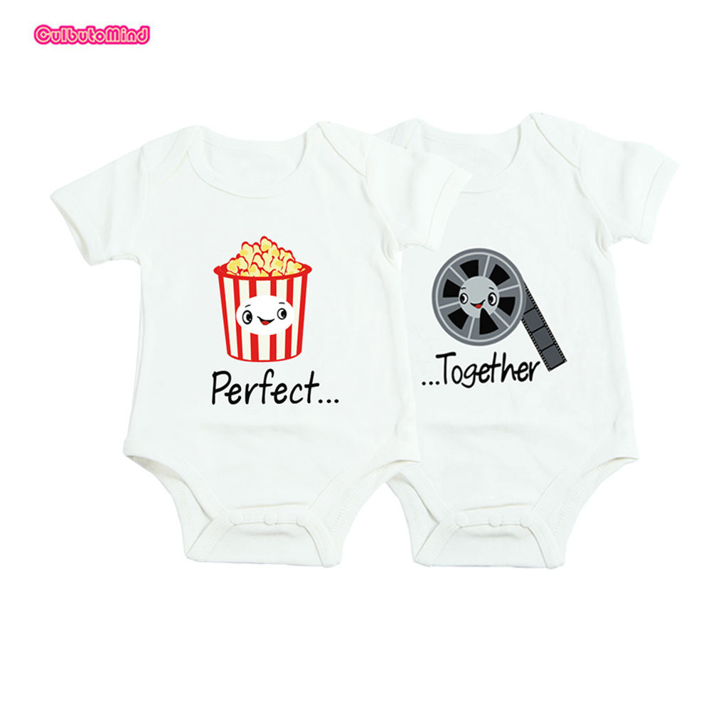 Baby 100%Cotton clothes twins baby Clothes perfect together twins Baby Clothing Short Sleeved Outfit Vest Romper 0-12M baby bollard twins outfit
