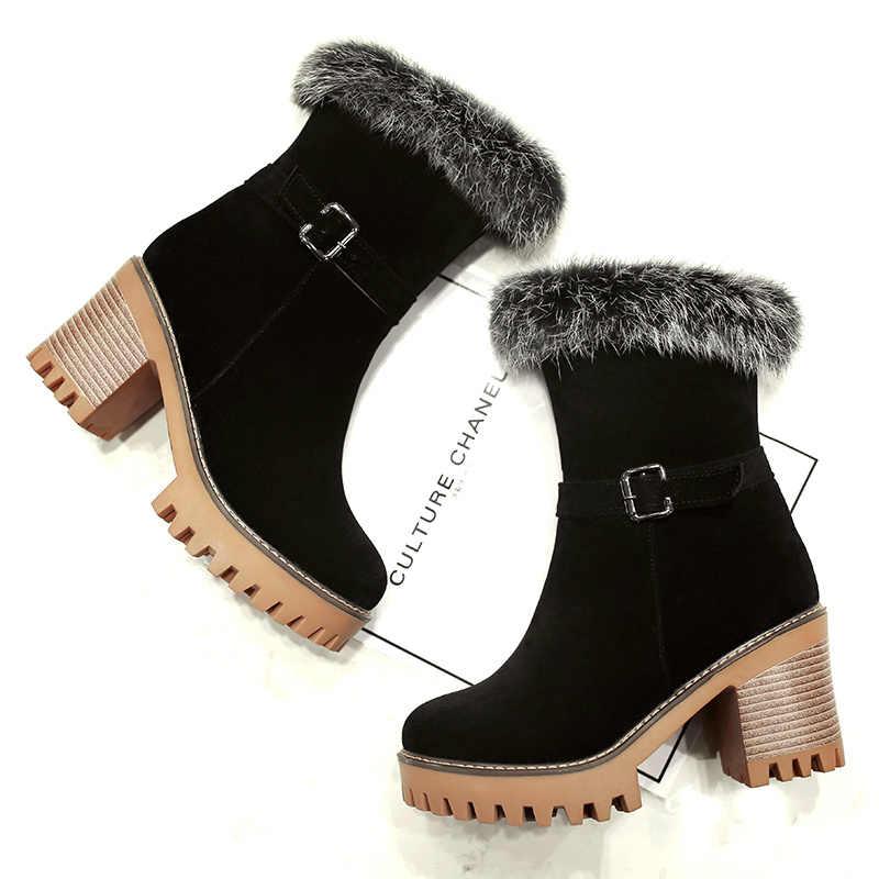 QZYERAI Nieuwe warme winter vrouwen laarzen hoge hakken snowboots bont vrouwen laarzen modieuze vrouwen warm schoenen