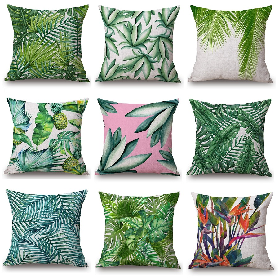High Quality Tropical Palm Printed Cushion Cover Tree Leaves Pineapple Home Decor Throw Pillow Case Almofadas Cojines